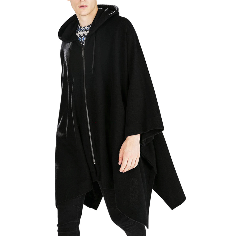 Mens Irregular Thick Zipper Oversize Loose Hooded Cloak Coat