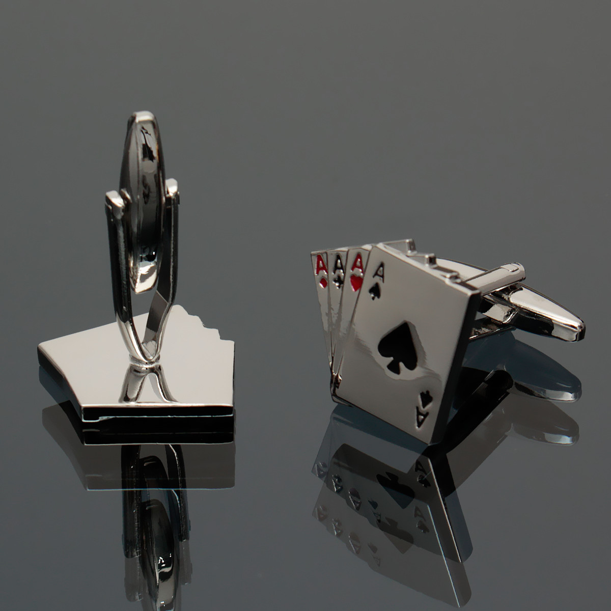 Men Male Silver Poker Pattern Enamel Rectangle Cuff Links Wedding Gift Suit Shirt Accessories