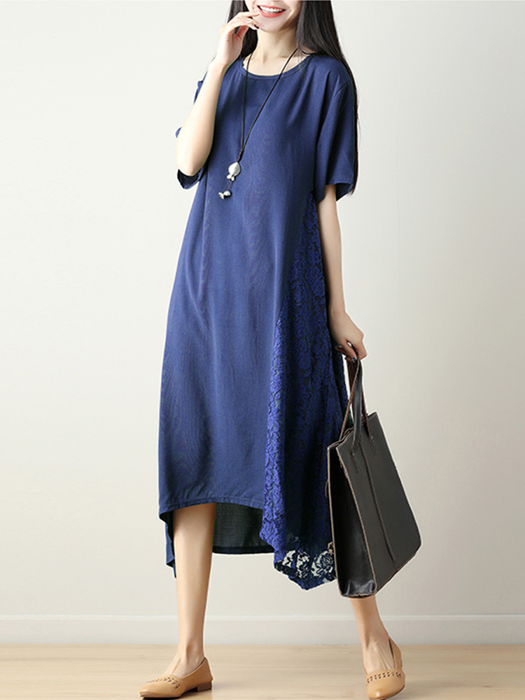Chinese Style Embroidery O-neck Solid Loose Hem Dress