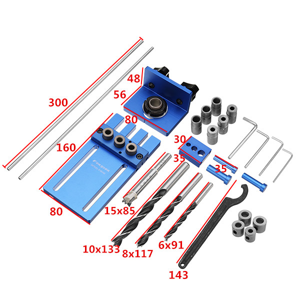 08450 Aluminum Alloy Dowelling Jig Set Wood Dowel Drilling Position Jig Woodworking Tool