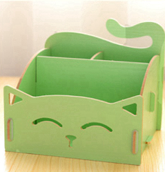 Wooden Storage Box for Cosmetics Organizer Cute Cat Office Pen Box Container Desktop Storage DIY