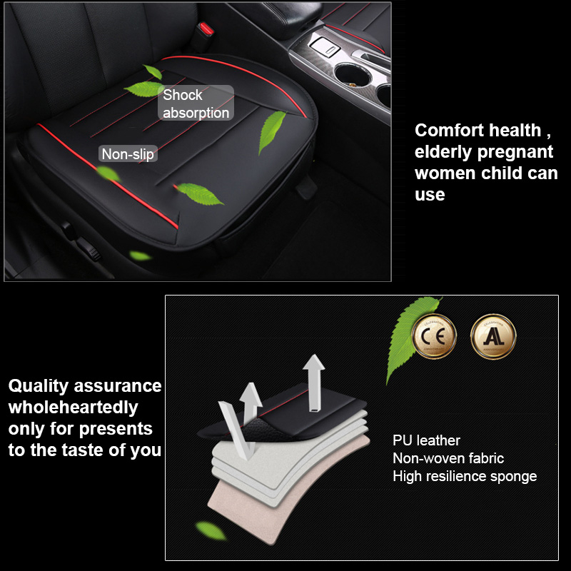 49x52cm PU Leather Car Seat Cushion Breathable Cover Chair Protector Mat Universal Black
