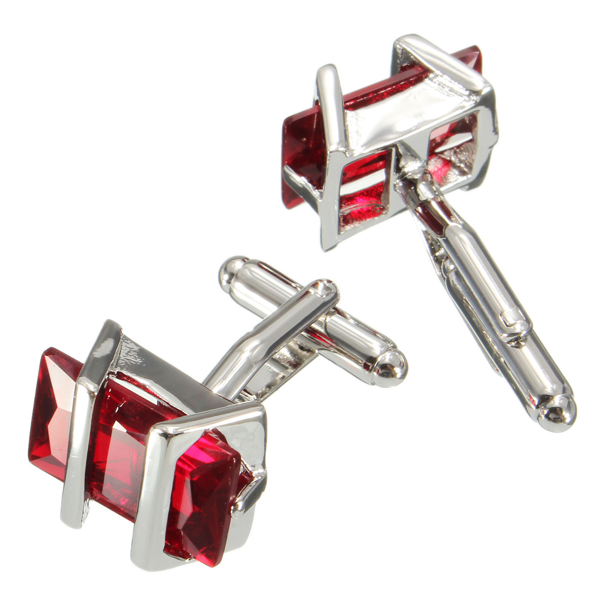 Men Male Rectangle Ruby Crystal Cuff Links Wedding Party Gift Shirt Suit Accessories