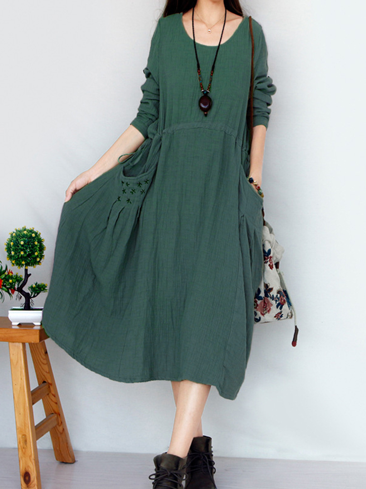 Vintage Women Pocket Embroidery O-neck Long Sleeve Maxi Dresses