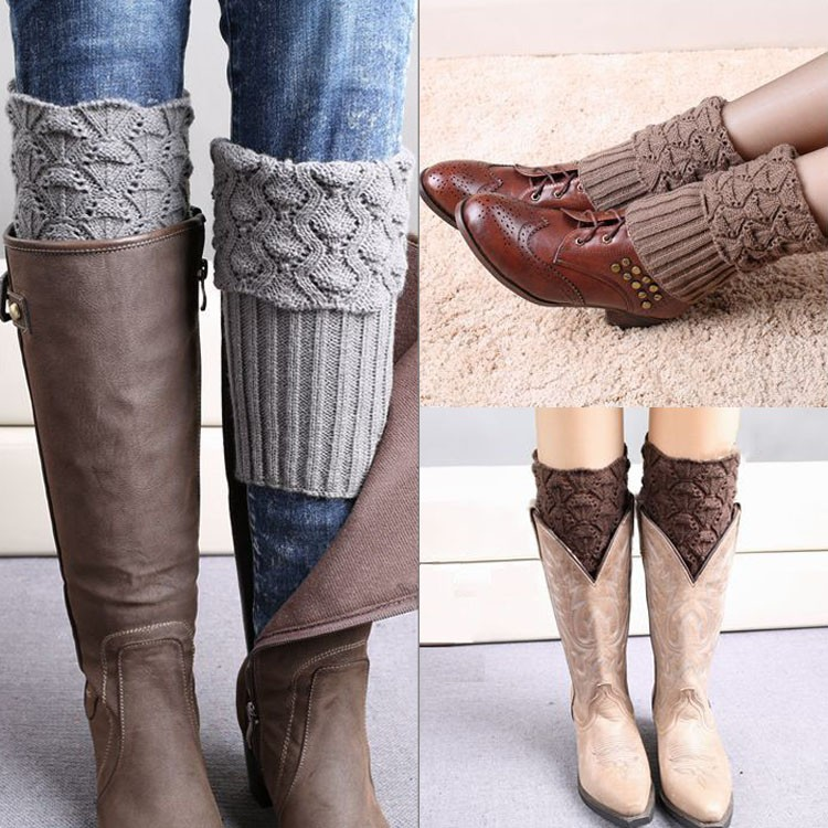 Women Ladies Crochet Knitted Shell Design Boot Cuffs Toppers Leg Warmers Socks