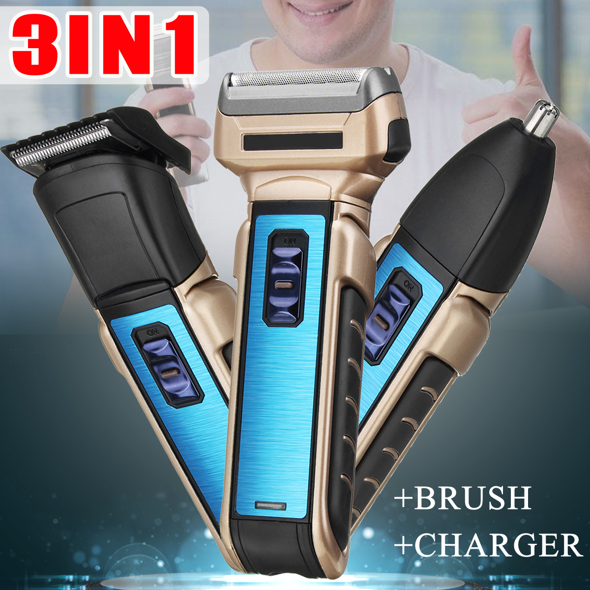 3 IN 1 Multi Smart Shaver Trimmer Two-Side Fit Faced Floating Electric Razor