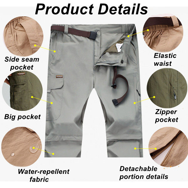 Large Size S-5XL Outdooors Quick Drying Pants Mens Removable Sunscreen Breathable Mountaineering Pants
