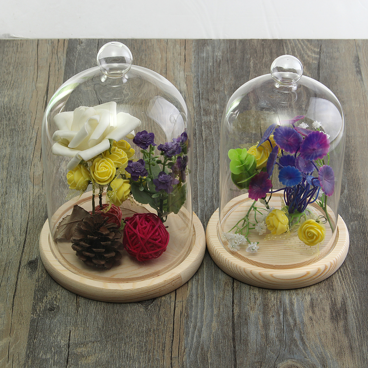 Glass Display Dome Clothe Bell Jar Flower Preservation Vase with Wooden Base 100mm 120mm