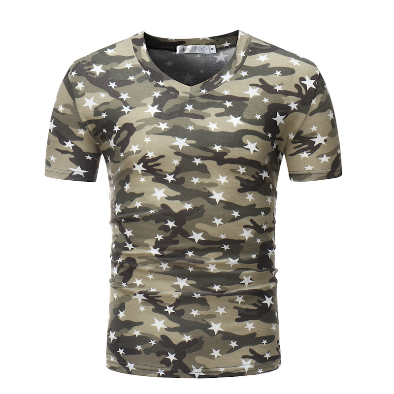 Mens Five-Pointed Star Camouflage Slim T-Shirts
