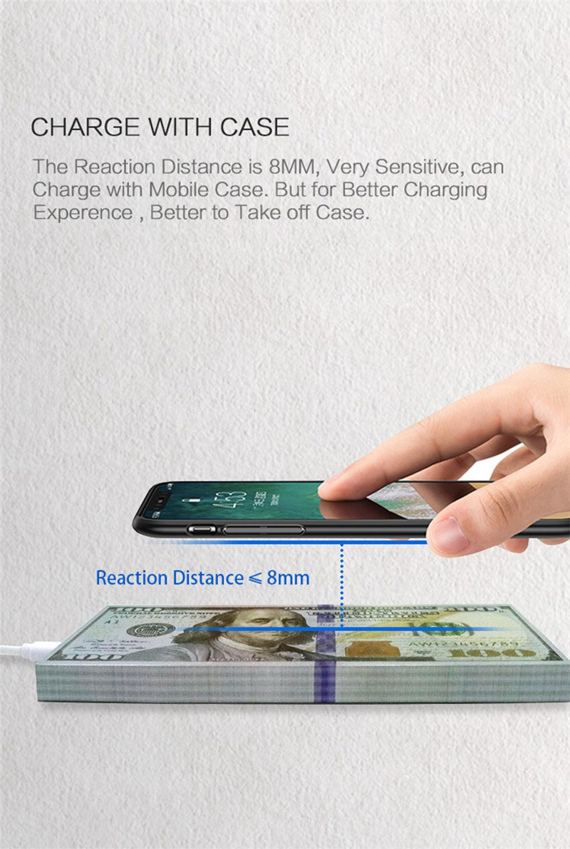 Qi Wireless Dollars Money Desktop Fast Chargeing Funny Wireless Charger Pad for Samsung S8 Note8 S7
