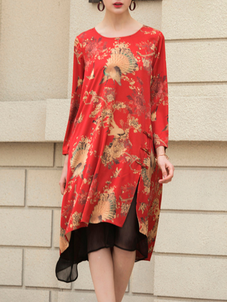 Vintage Women Floral Peacock Printed Mesh Stitching Irregular Hem Dress