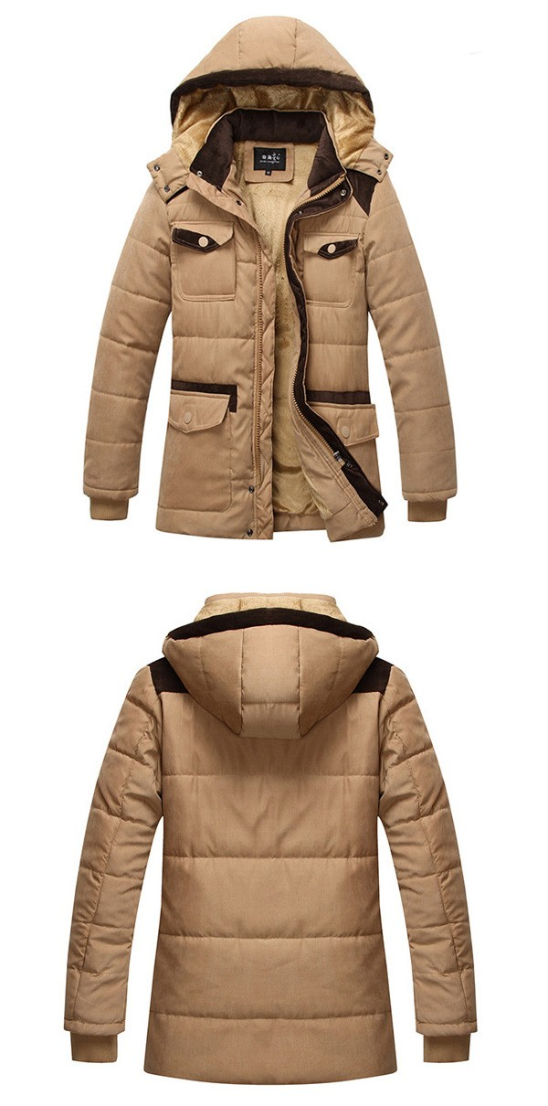 Mens British Fashion Casual Winter Outdoor Thick Warm Cotton Hooded Trench Coat