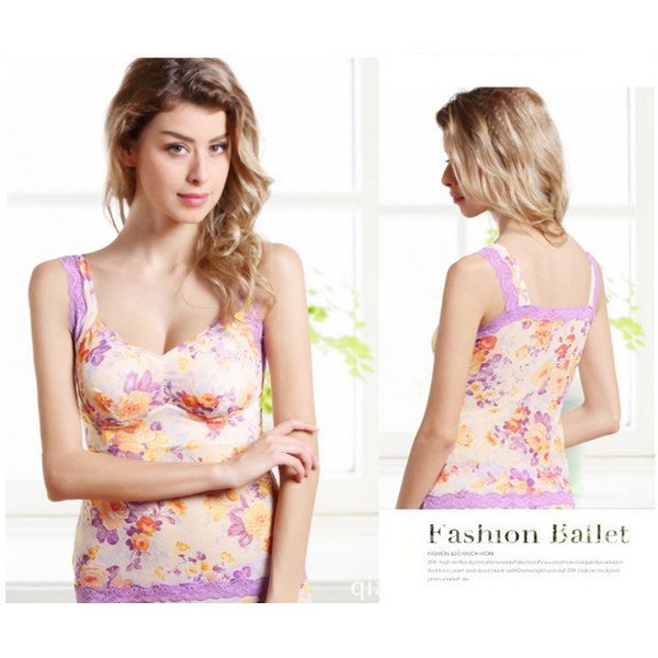 Woman Sexy Lace Floral Printing Comfy Seamless Breathable No Rim Sleeping Vest Bras