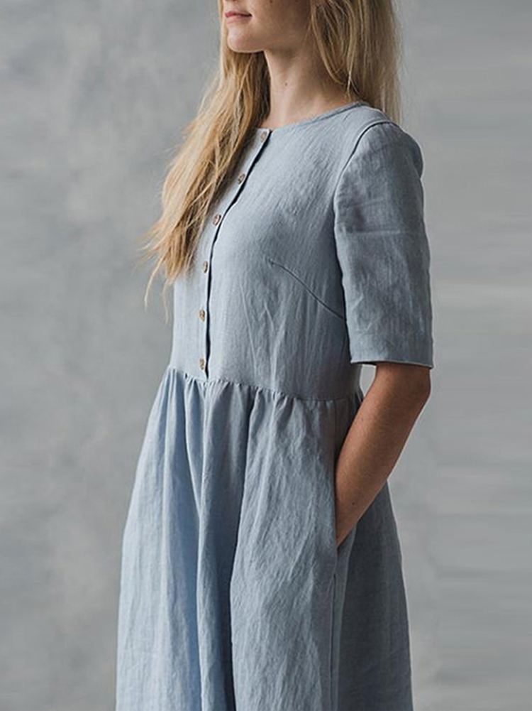 Vintage Short Sleeve Button Pockets Cotton Linen Dress