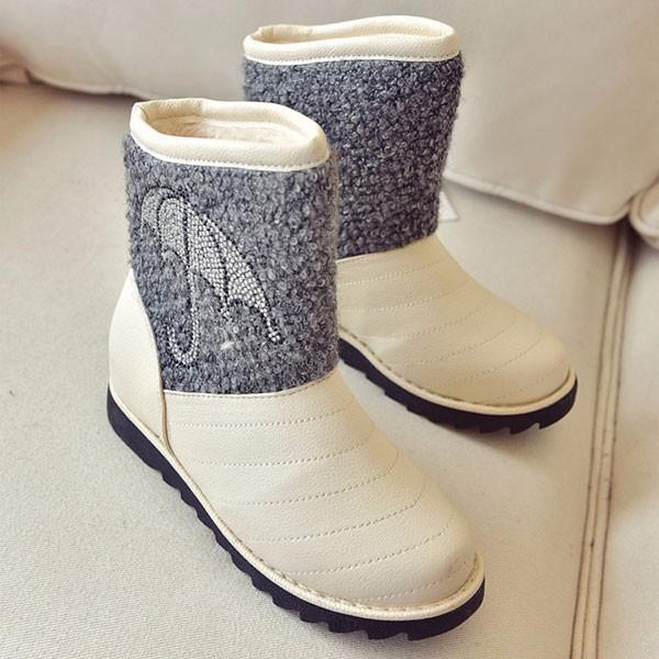 Winter Women Fur Lining Cotton Snow Boots Keep Warm Slip On Plush Flat Shoes
