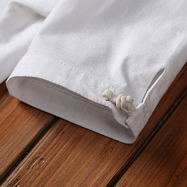 Mens Chinese Style Solid Color Stand Collar Soft Linen Shirt