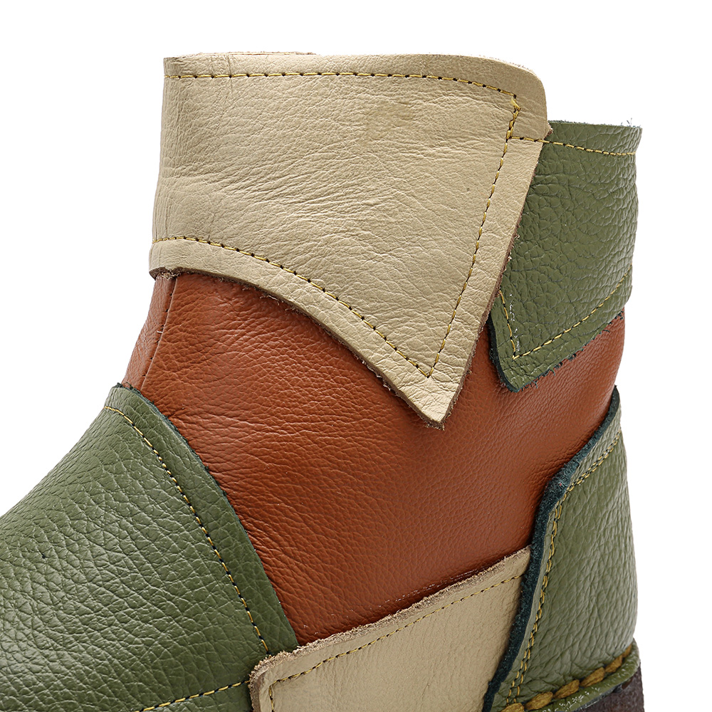 SOCOFY Roman Stitching Casual Ankle Zipper Soft Boots