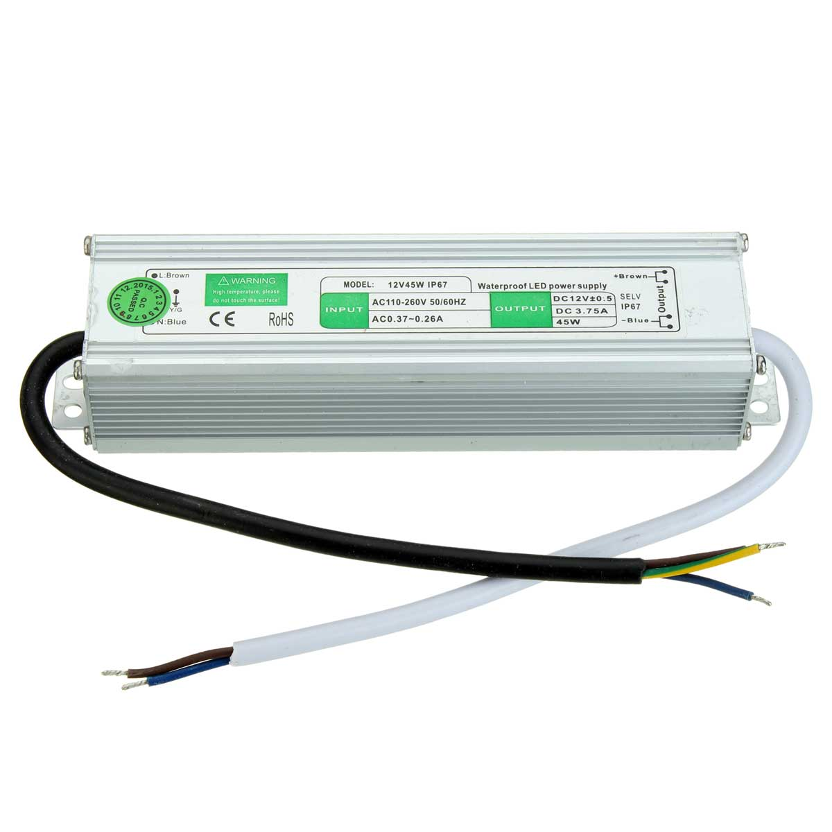 DC 12V 3.7A 45W Waterproof IP67 Electronic LED Security Camera Power Supply 50/60Hz