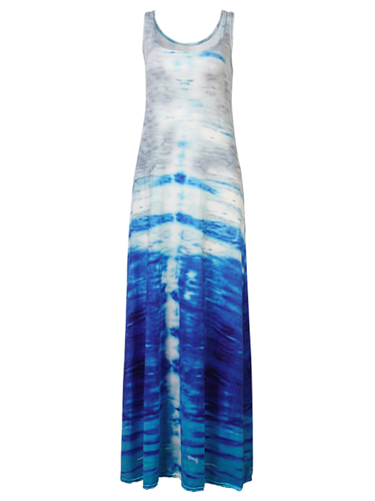 Image of Frauen Gradient Color Printing Sleeveless Maxi Kleid