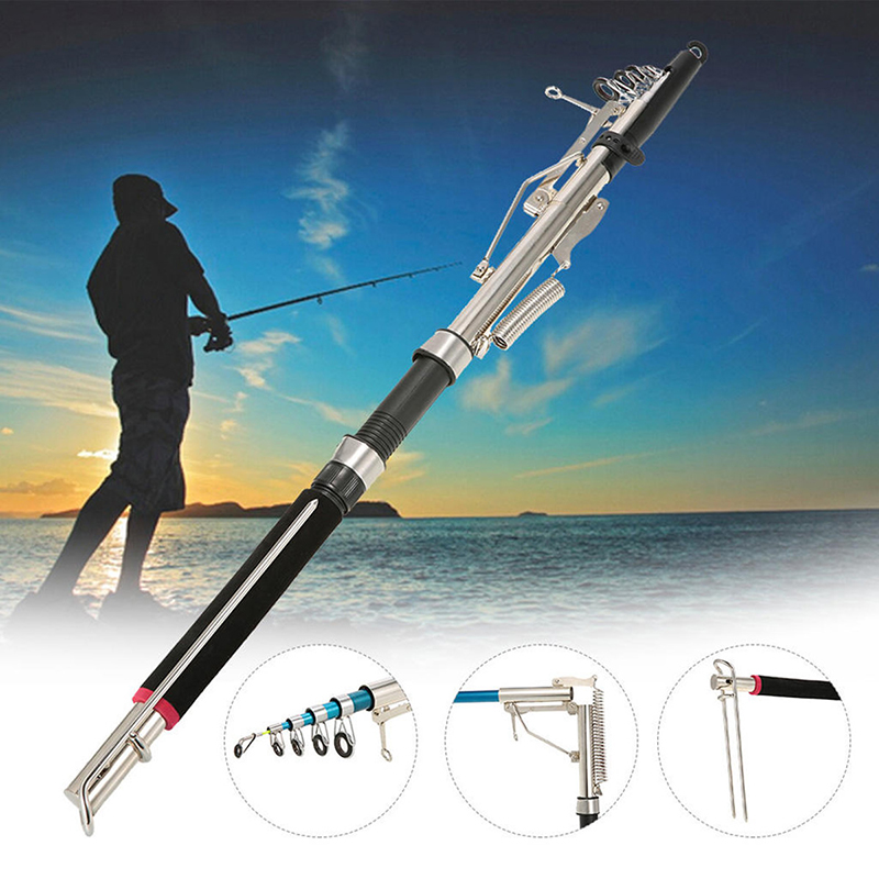 ZANLURE 2.4m 2.7m Fiber Glass Automatic Telescopic Fishing Rod Device Spinning Pole Sea Lake Fishing
