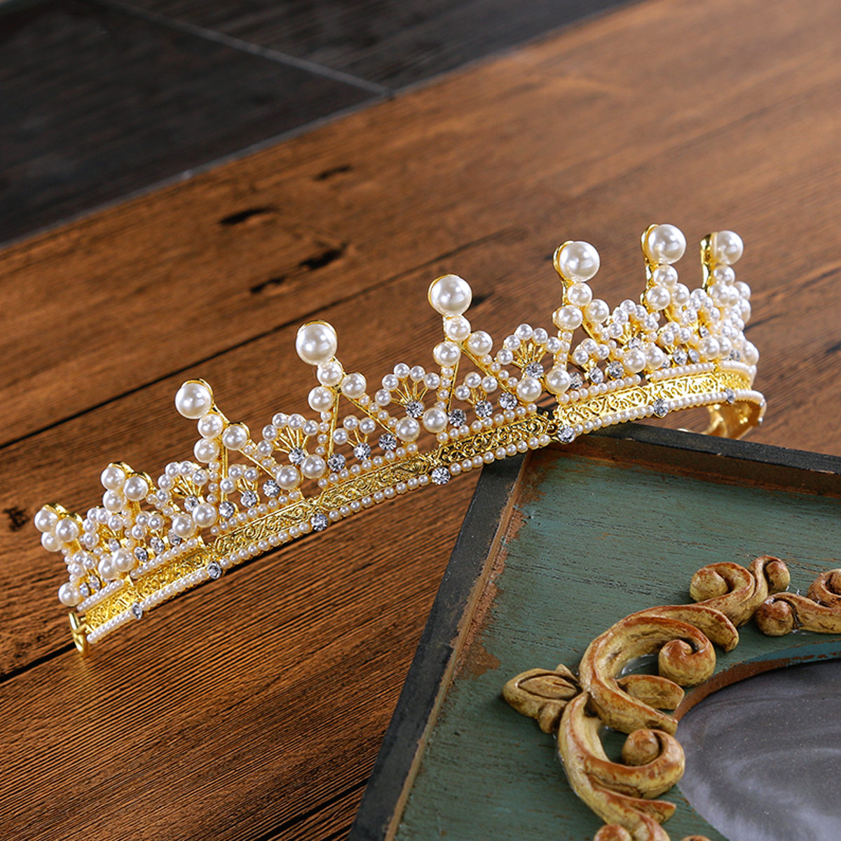 Bride Gold Pearls Crystal Rhinestone Wedding Tiara Crown Prom Pegeant Bridal Headbrand Jewelry