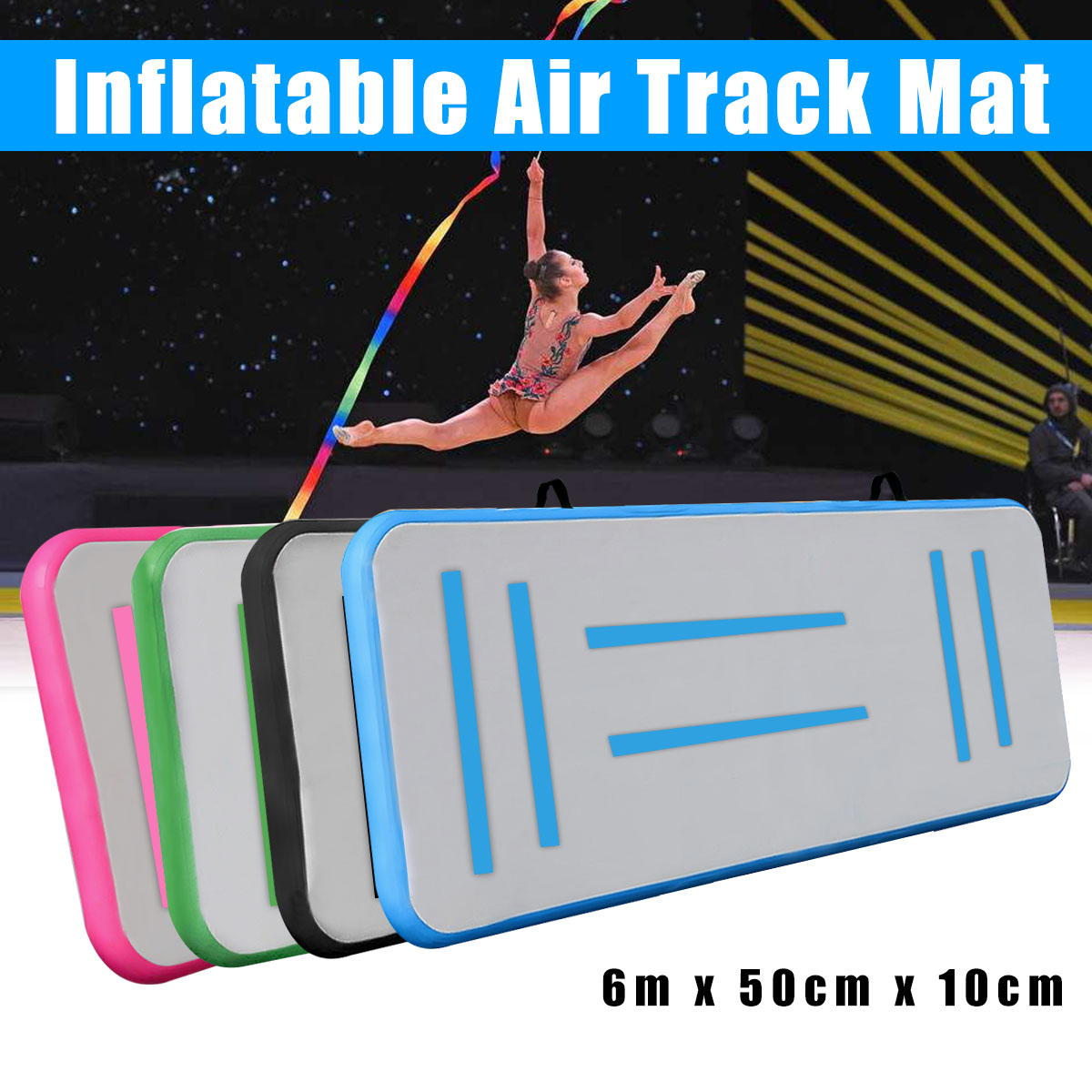 118x19.6x3.9inch Inflatable Air Track Tumbling Floor Gymnastics Mat Practice Training Pad