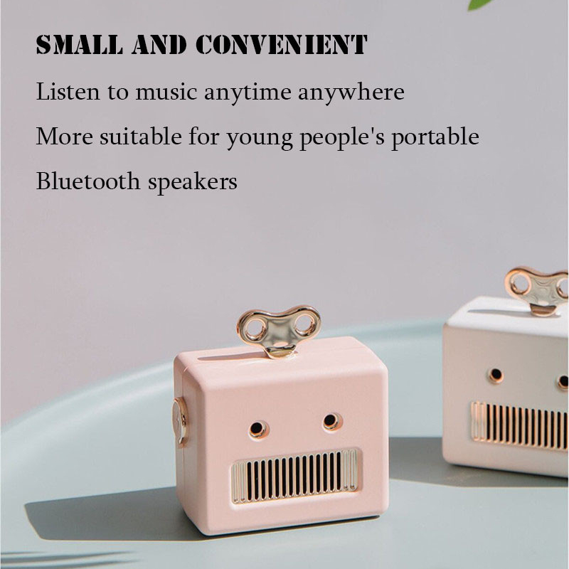 Mini Cartoon Robot Stereo Bass bluetooth Speaker With Mic Portable Hands-free Call
