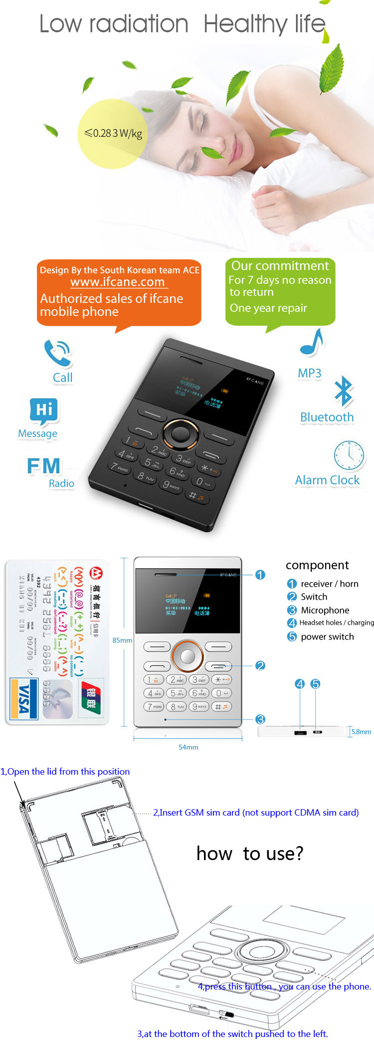 iFcane E1 0.96-inch 320mAh Long Standby Vibration bluetooth GSM Ultra Thin Mini Card Phone