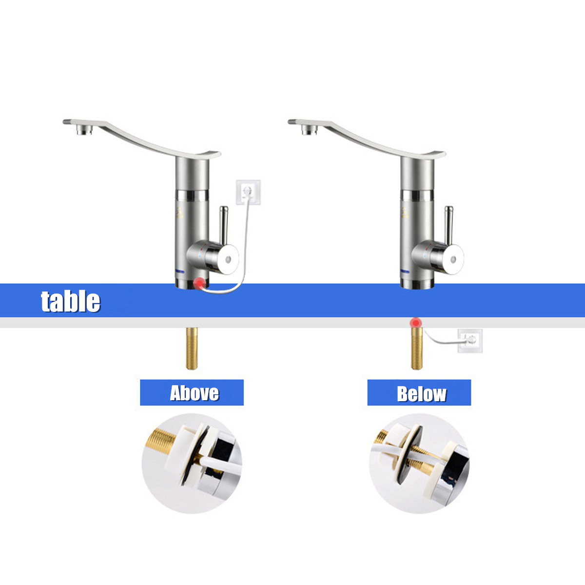 3000W Instant Electric Faucet Kitchen Hot Water Fast Heater Under Inflow 360º Rotate Indicator Light