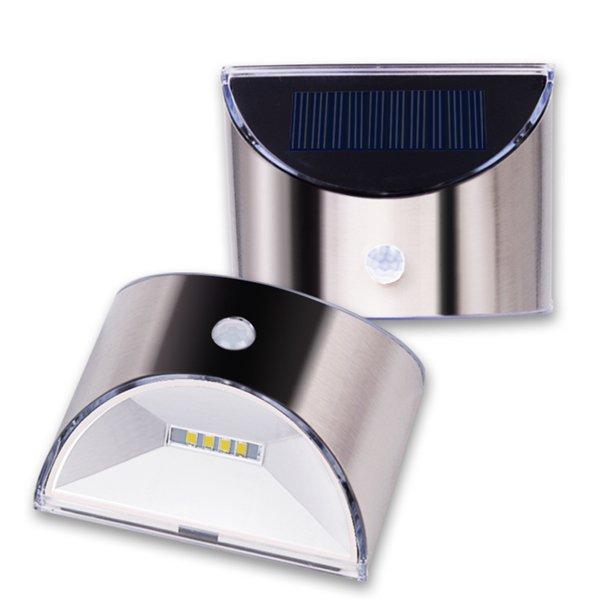 Solar Powered 4 LED PIR Motion Sensor Stainless Steel Wall Light for Outdoor Garden Home