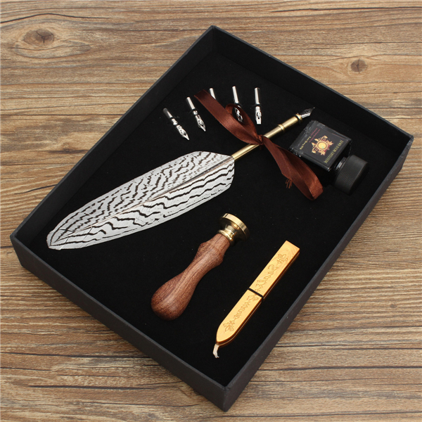 Retro Eagle Feather Quill Dip Pen Ink Set Stationery Gift Box for Office Home School