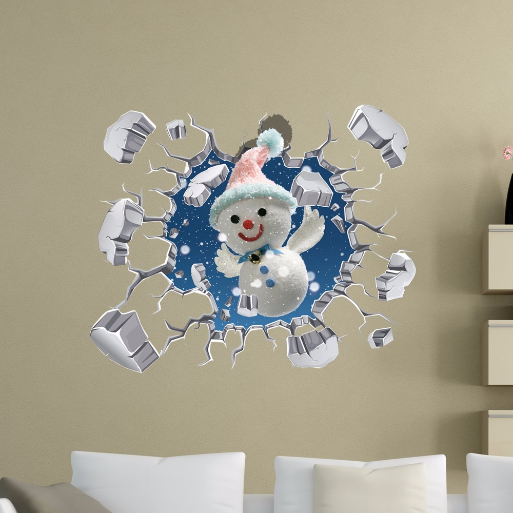 PAG 3D Christmas Snowman Snowflake Sticker Wall Decals Home 3D Christmas Wall Hole Decor Gift