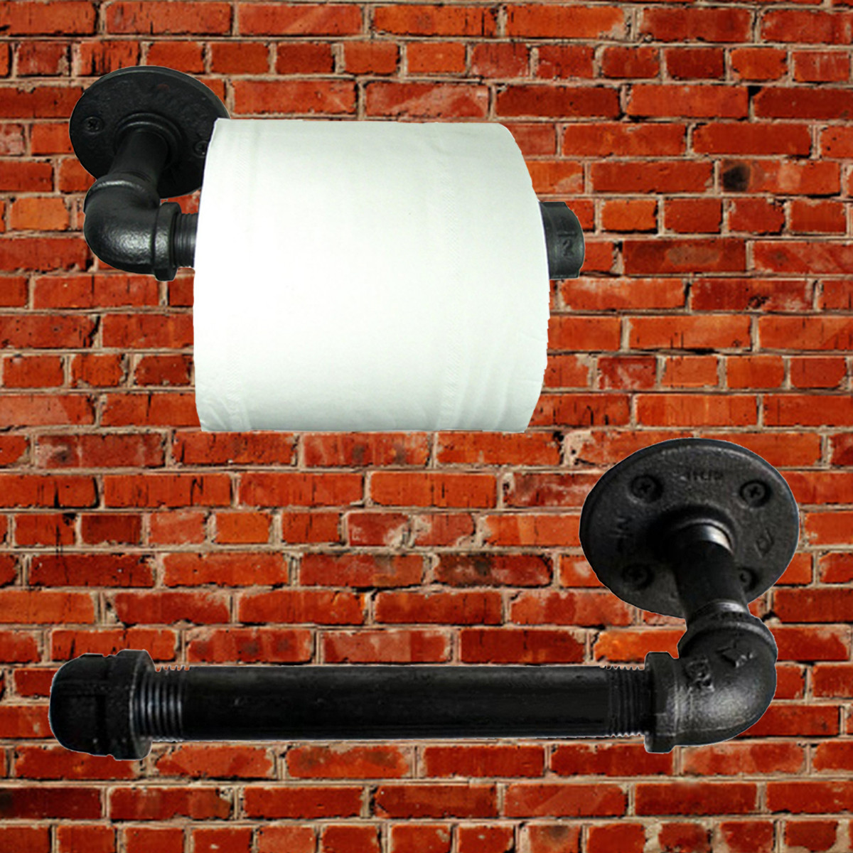 Industrial Pipeline Vintage Paper Towel Rack Bathroom Wall Mount Toilet Paper Holder