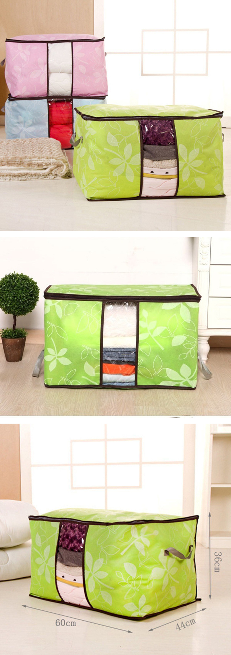 IPRee® 60x44x36cm Bamboo Charcoal Non Woven Quilts Bag Portable Big Size Storage Box with Window