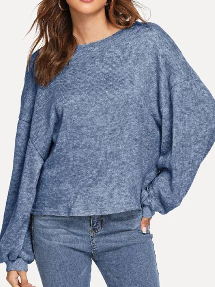 Women Solid Color Round Neck Loose Lantern Sleeve Sweatshirt