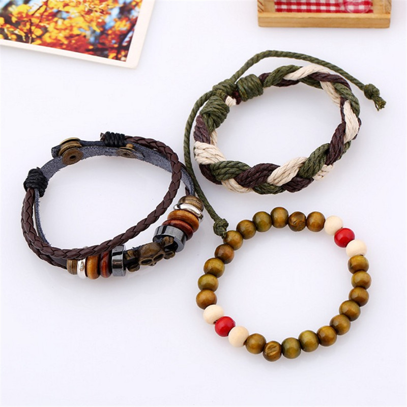 Retro Multilayer Braided Leather Rope Skull Bracelet
