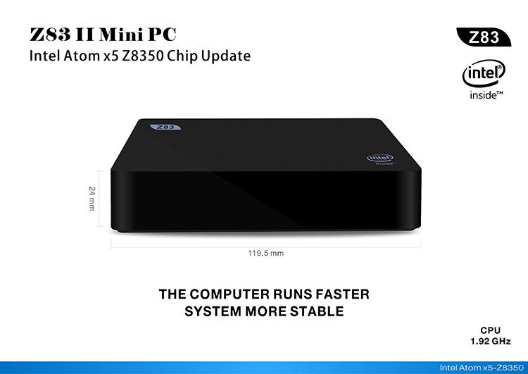 Z83II Mini PC 2GB DDR3 RAM 32G Intel Atom x5-Z8300 Processor Windows 10 bluetooth 4.0 USB 3.0 Wifi
