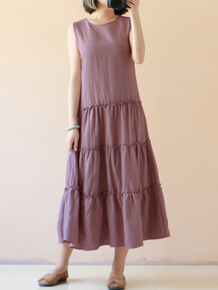 Vintage Sleeveless Pleated Patchwork A-Line Dress