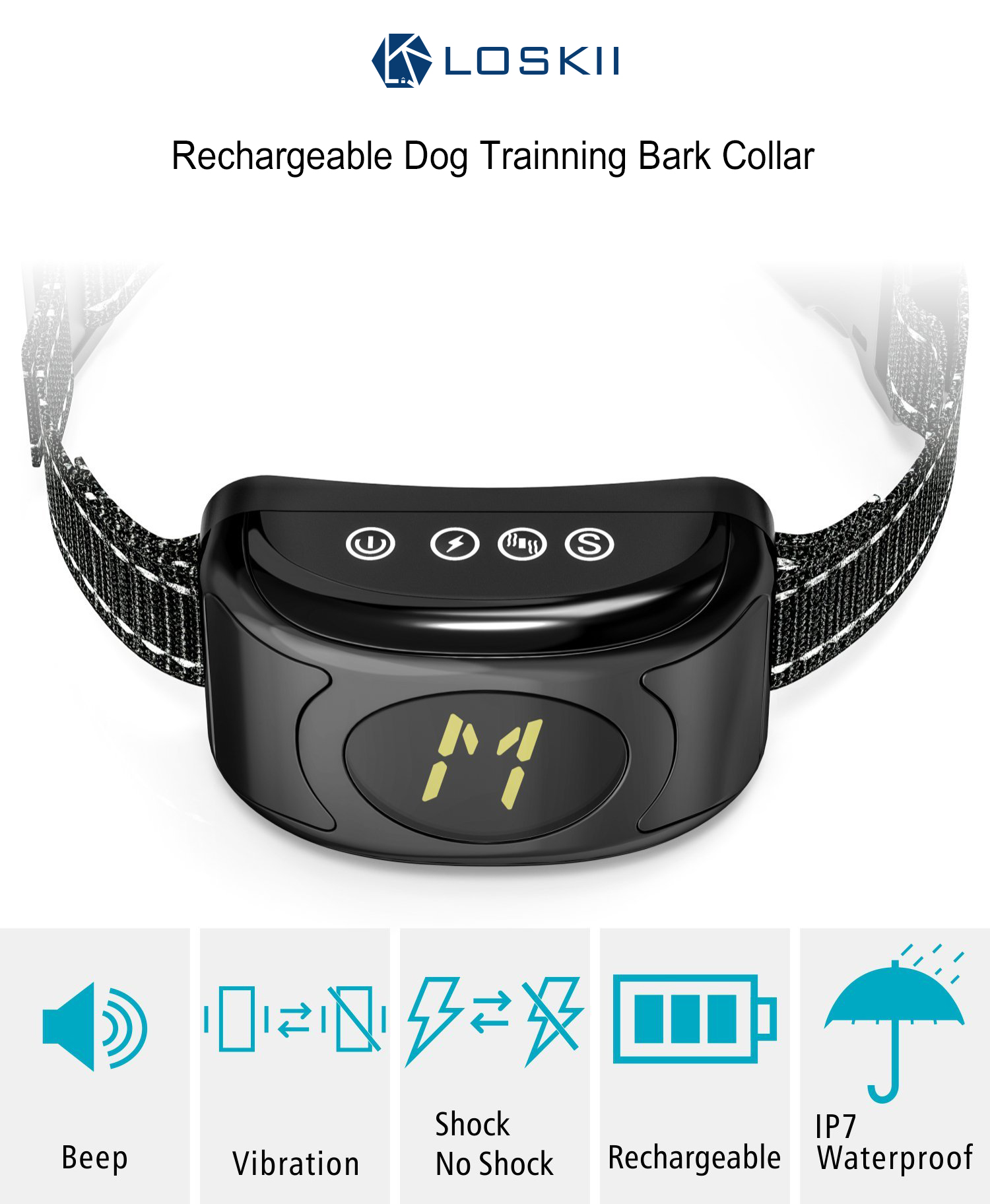 Loskii PT-300 Electronic Rechargeable Large LCD Display Dog Training Device Bark Collar with Vibration Tone Shock Mode