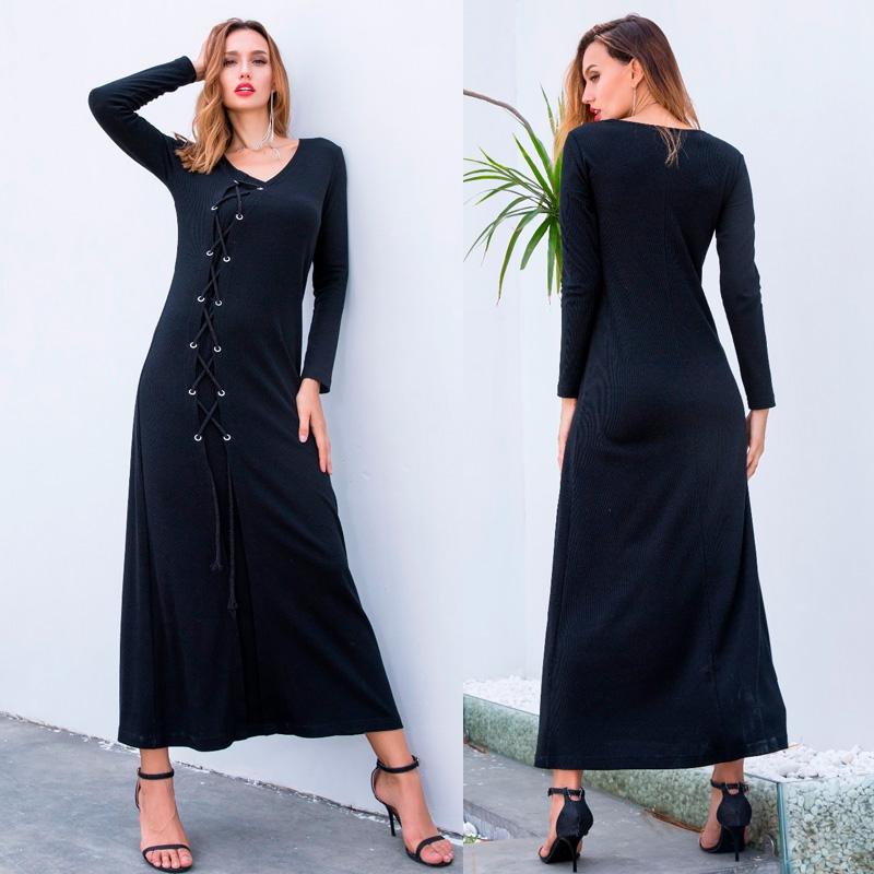 XS-3XL Sexy Women Black Slim Long Maxi Dresses