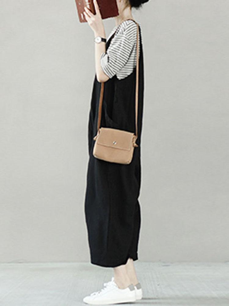 Women Solid Color V-neck Pocket Loose Cotton Casual Wide Leg Jumpsuit