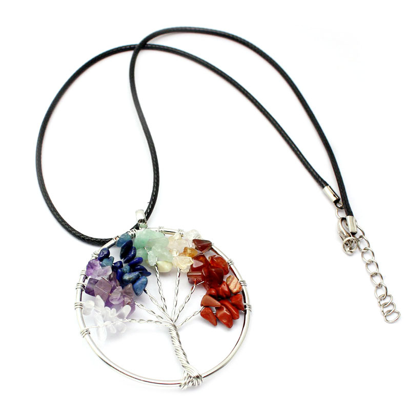 Trendy Multicolor Tree of Life Pendant Necklace Christmas Gift for Women