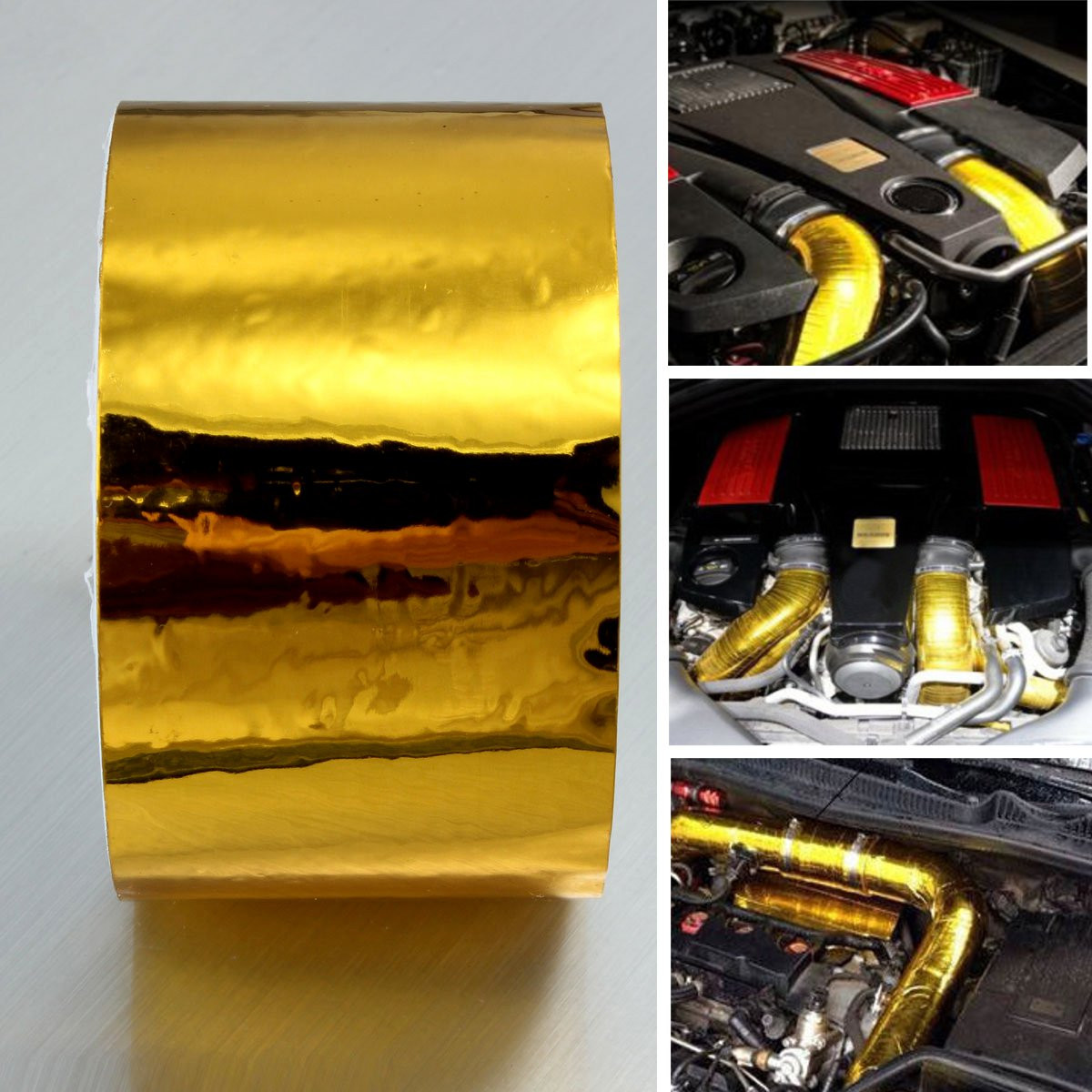 Reflective Gold Aluminum Foil Tape PET Heat Protection Roll High Performance 50mmx4.5m