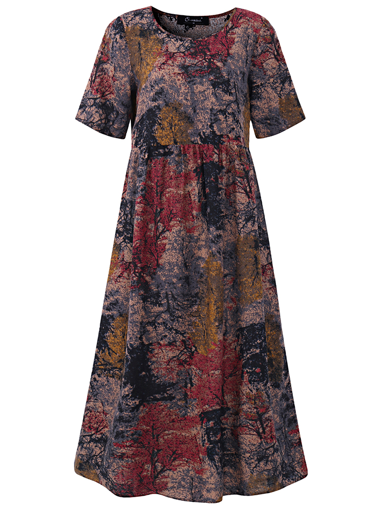 Floral Printed Short Sleeve O-Neck A-Line Dress