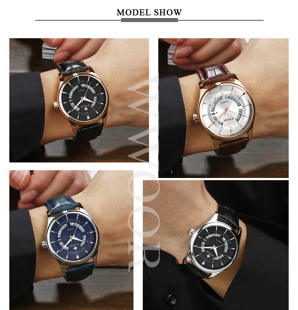 WWOOR 8863 Business Style Leather Strap Men Wrist Watch