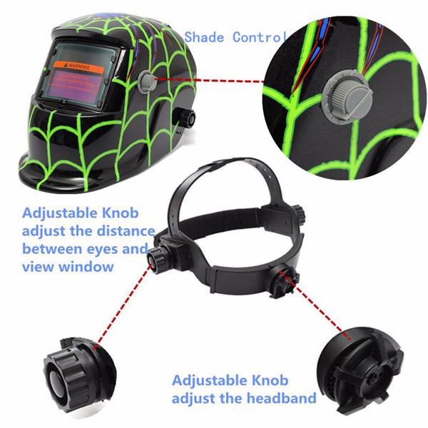 New Style Green spider Solar Welder Mask Auto Darkening Welding Helmet Arc Tig