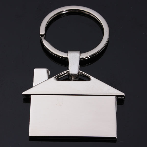 Creative Metal Chrome House Model Key Chain Keyring Pendant Gift Decor Silver