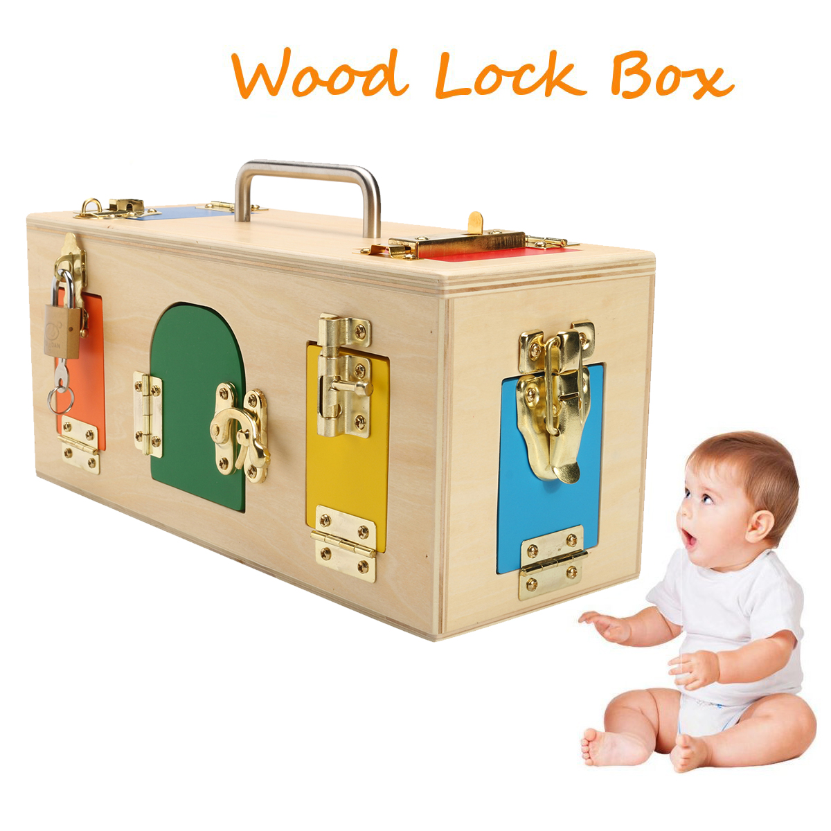 Kids Life Skill Learning Wooden Montessori Practical Wood Lock Box Educational Science Toys