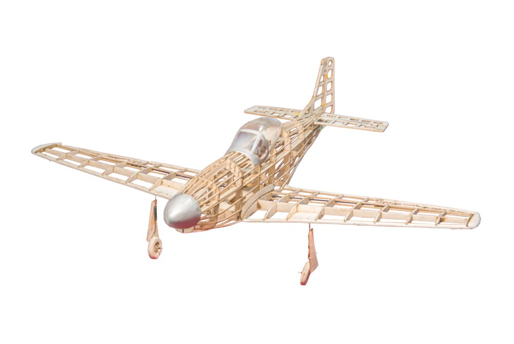 P51D Mustang 400mm Wingspan Balsa Wood Laser Cut RC Warbird Airplane KIT With Power System