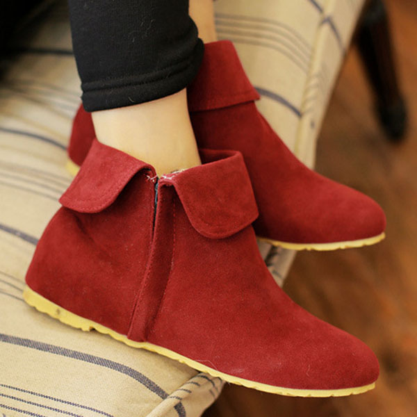 Large Size Zipper Heel Increasing Classical Style Ankle Short Boots